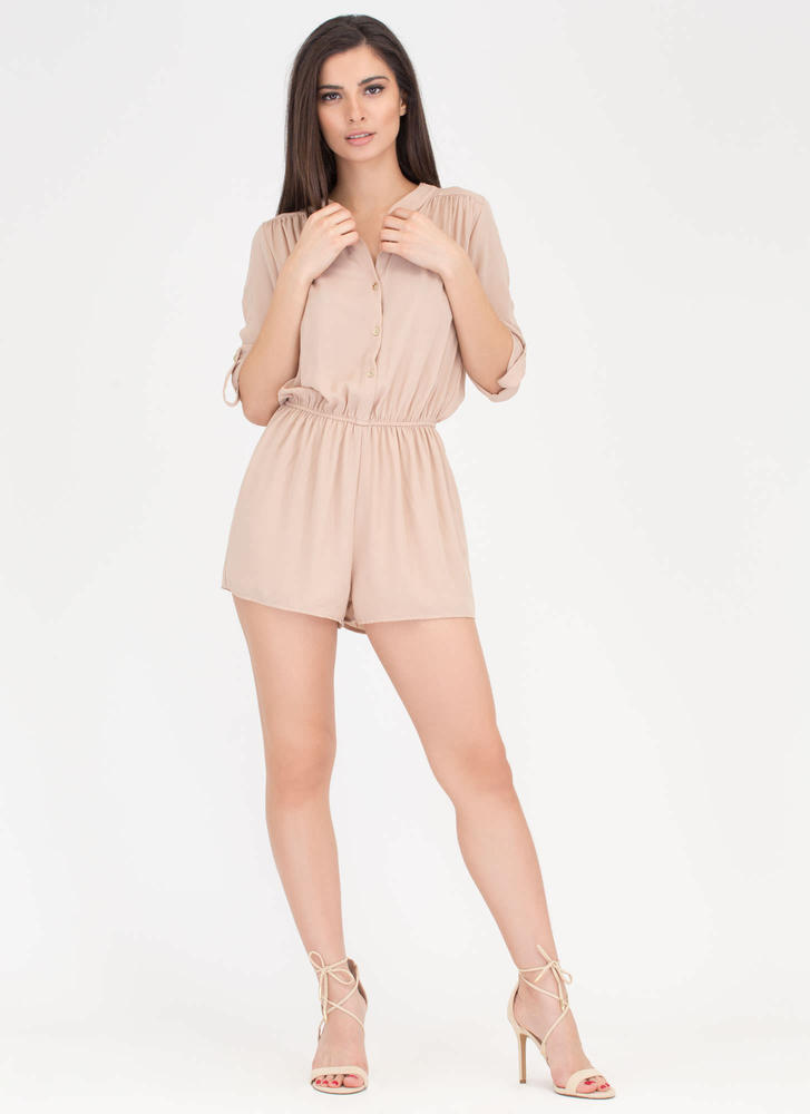 Skirt The Issue Button-Up Romper KHAKI