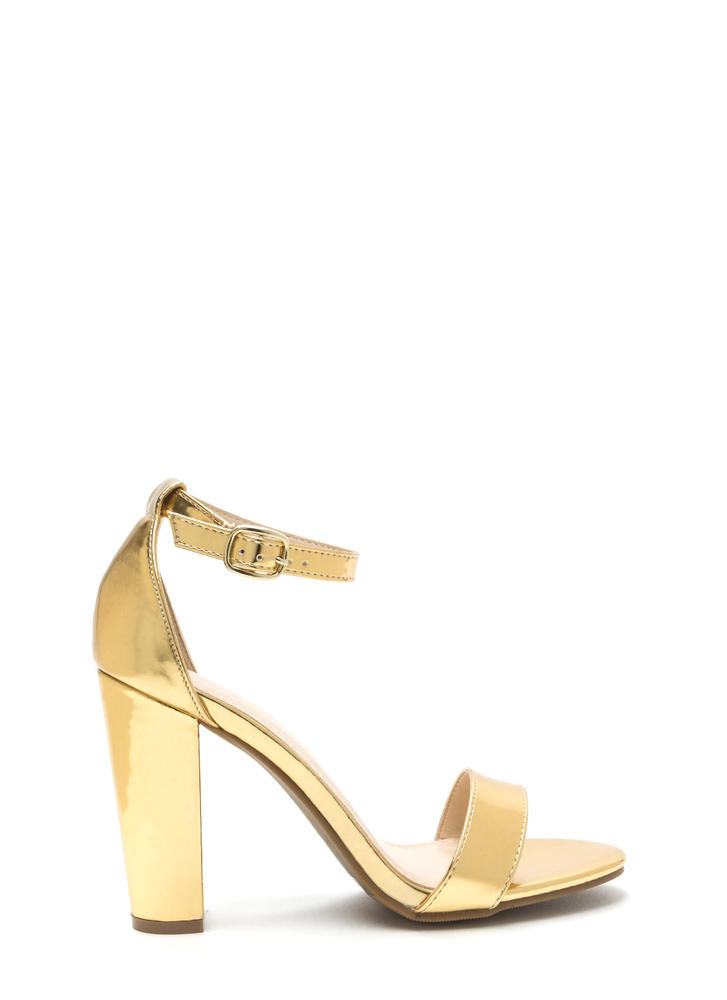 Hi Shine Faux Patent Chunky Heels GOLD