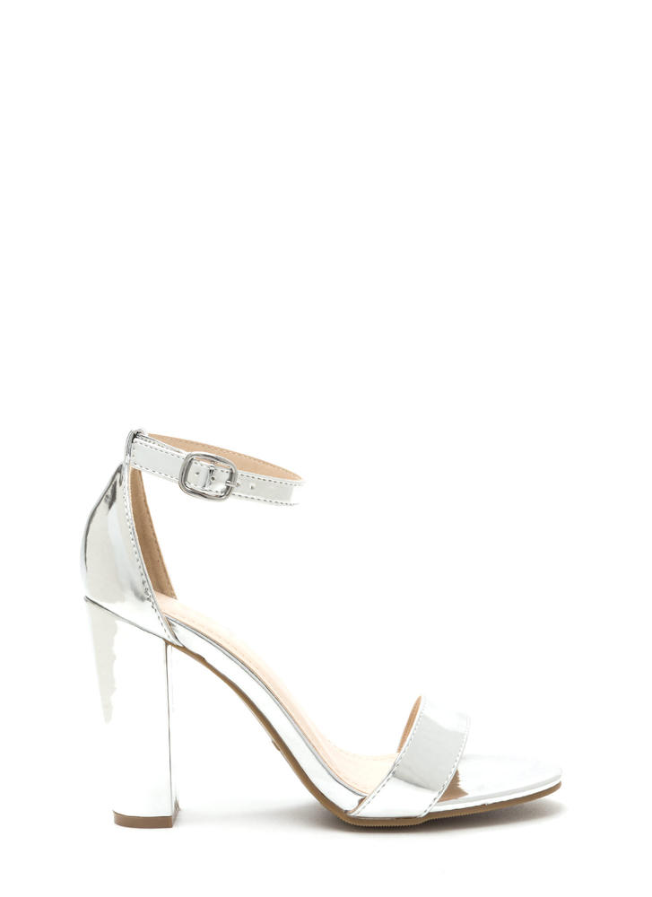 Hi Shine Faux Patent Chunky Heels SILVER