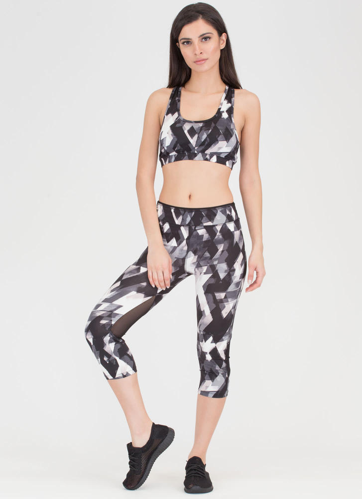 Fit Lifestyle Watercolor Geo Capri Pants BLACK