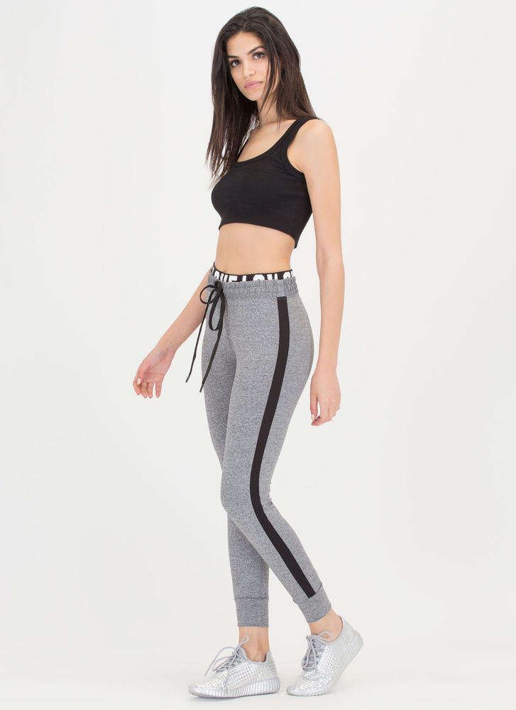 Fitness Love Layered Workout Pants HGREY