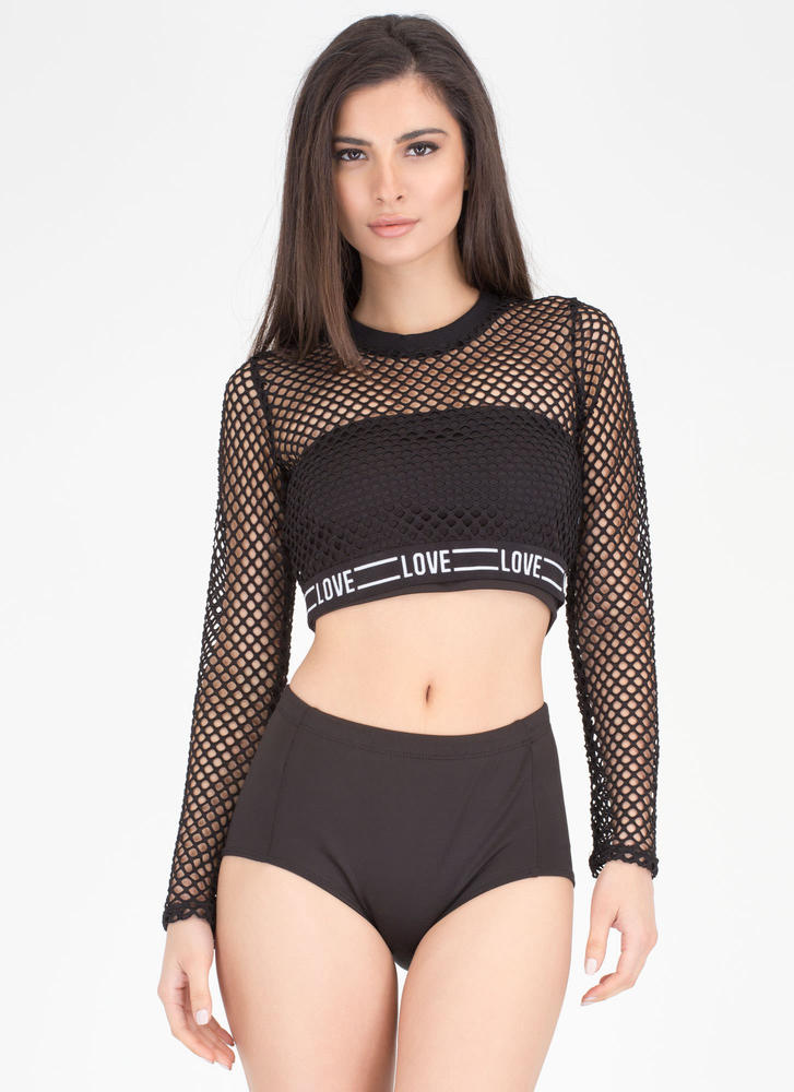 Love Wins Netted Sports Mesh Crop Top