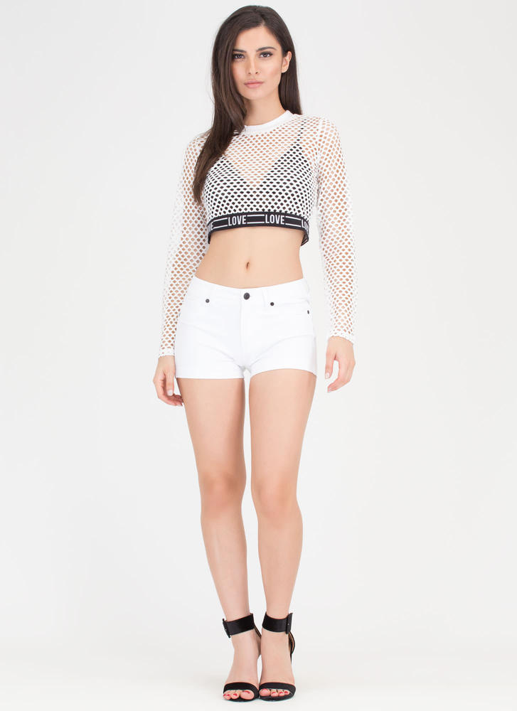 Love Wins Netted Sports Mesh Crop Top WHITE