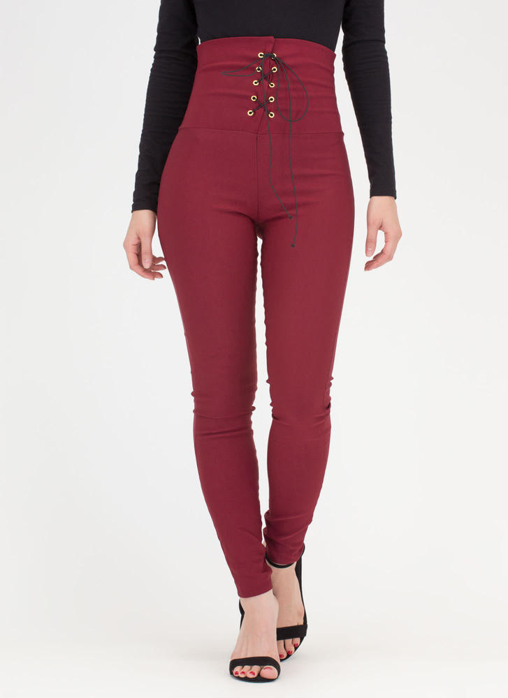 Rock Goddess Lace-Up Skinny Pants BURGUNDY