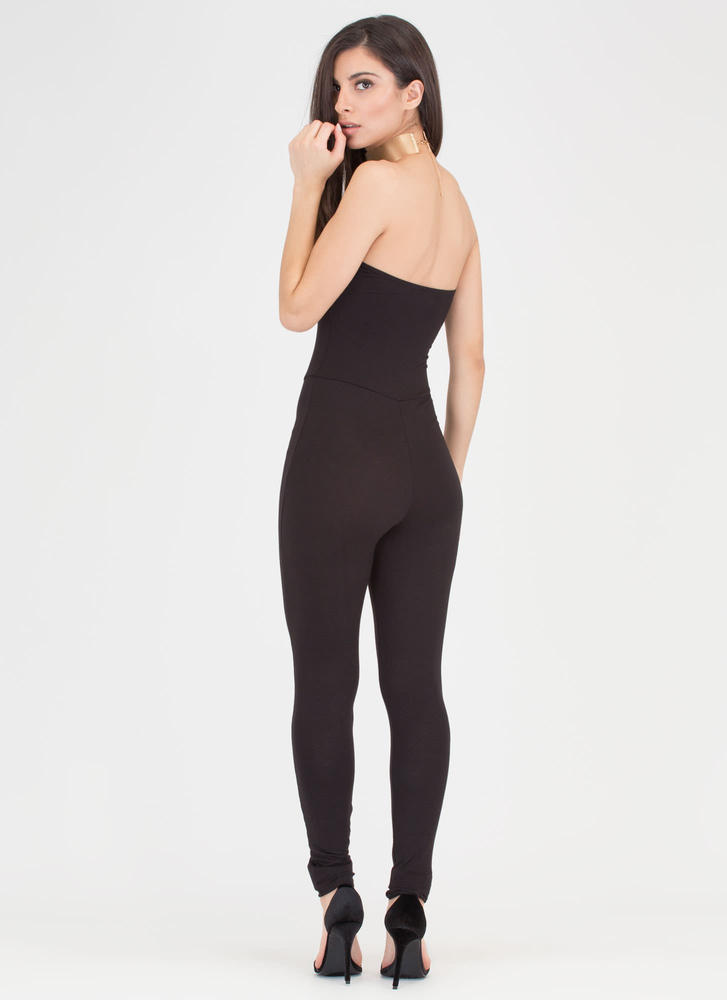 One And Done Cropped Strapless Jumpsuit BLACK