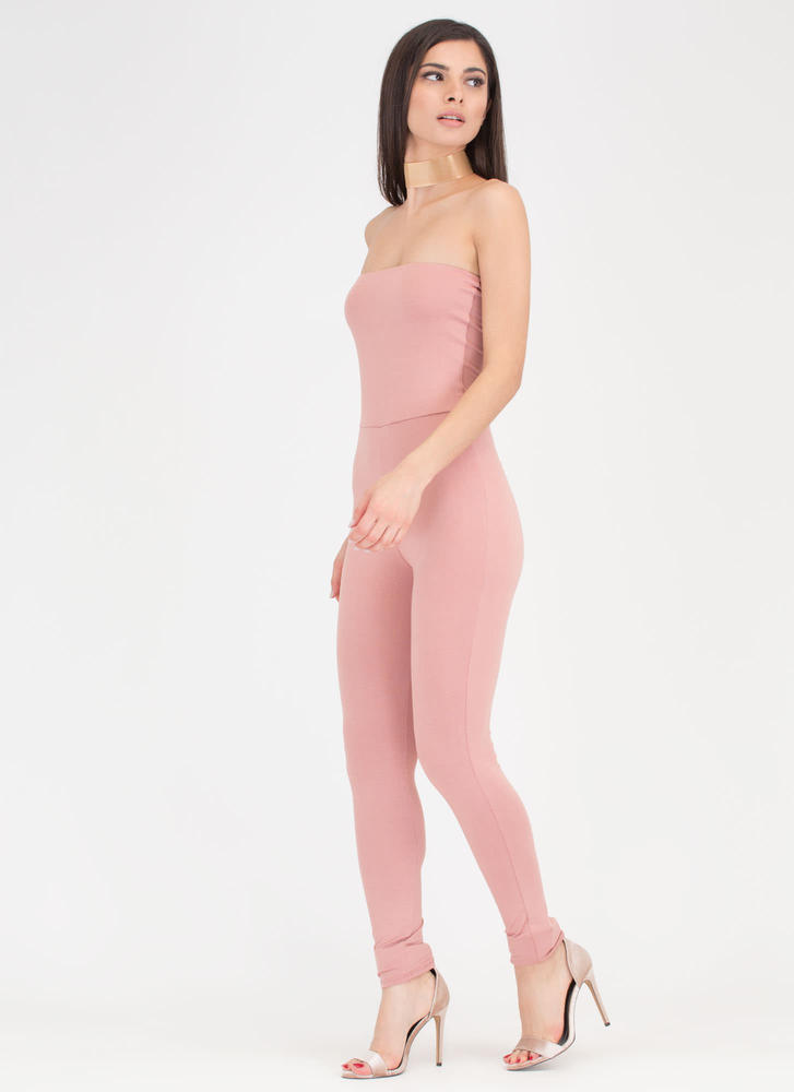One And Done Cropped Strapless Jumpsuit MAUVE