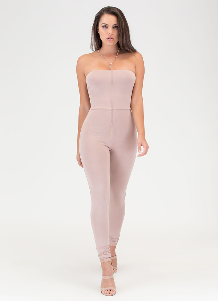 One And Done Cropped Strapless Jumpsuit TAUPE