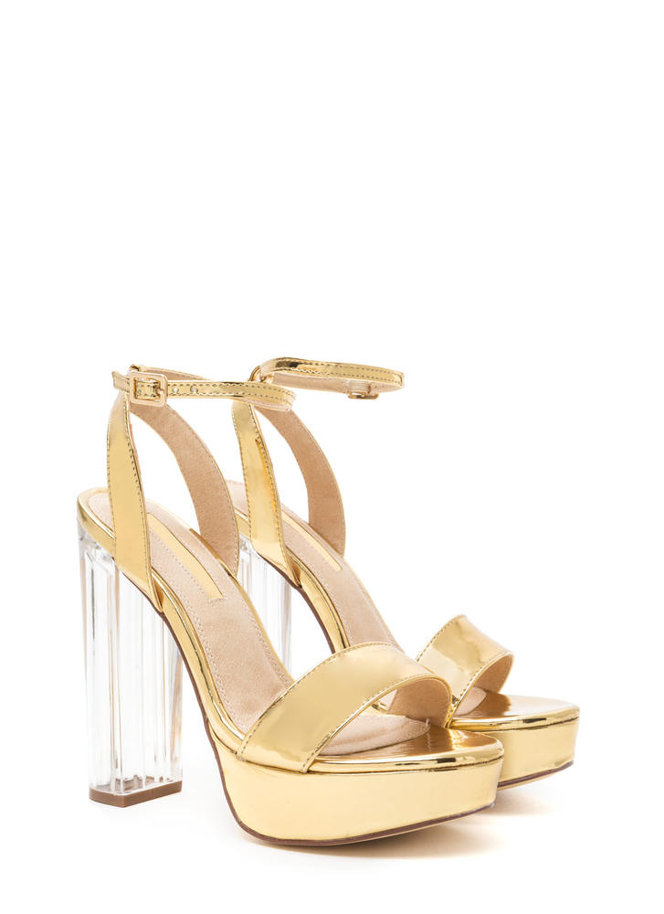 Shiny Showstopper Chunky Platform Heels GOLD