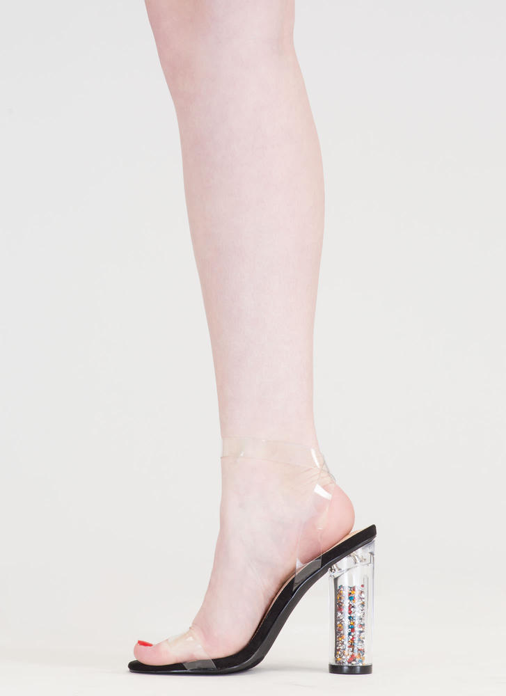 Treasure Chest Clear And Chunky Heels BLACK