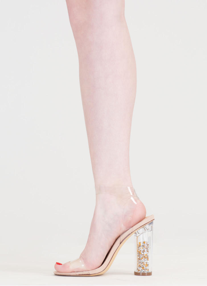 Treasure Chest Clear And Chunky Heels NUDE