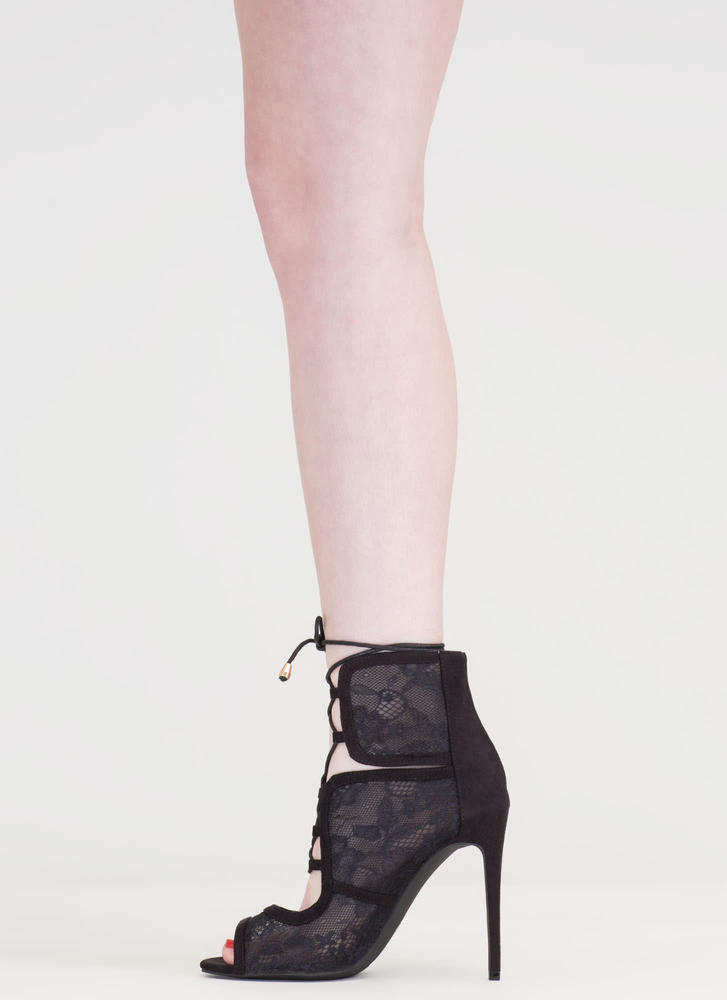 Step Into Romance Tied Lace Heels BLACK
