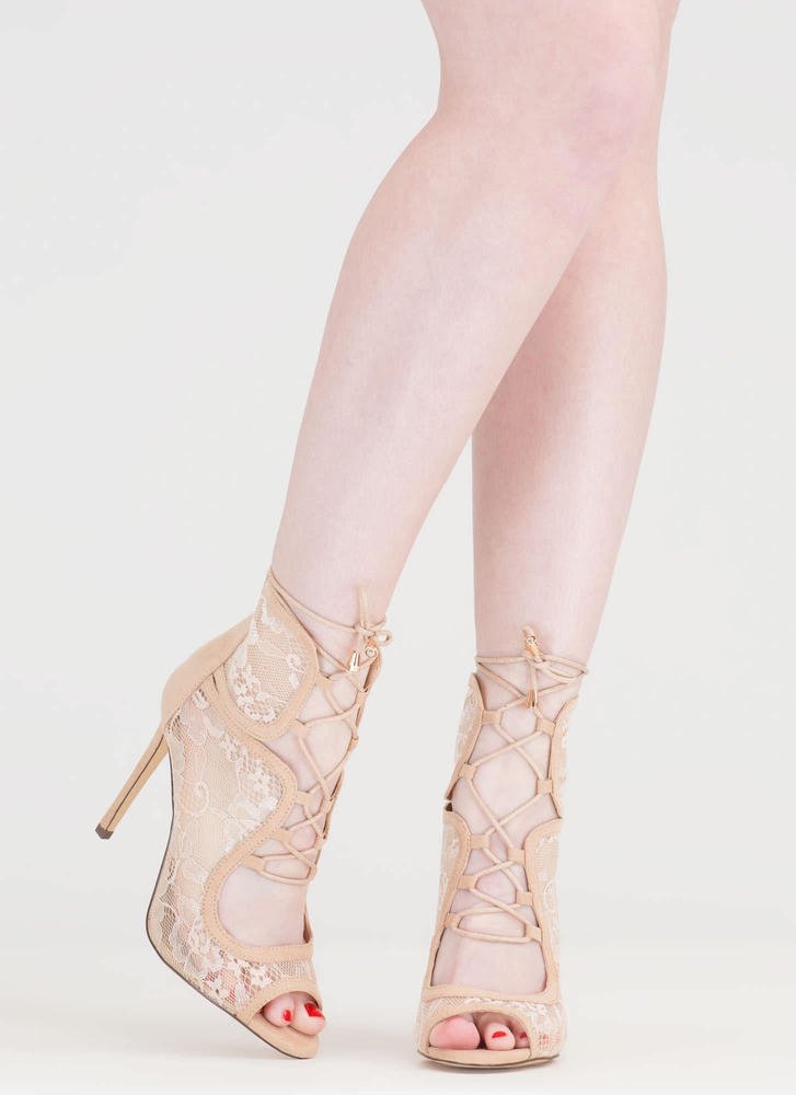 Step Into Romance Tied Lace Heels NUDE