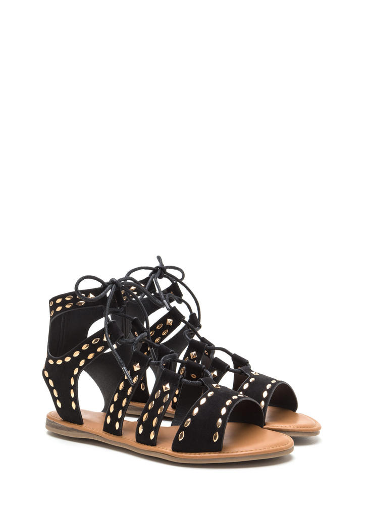 Fashion Victory Studded Lace-Up Sandals BLACK