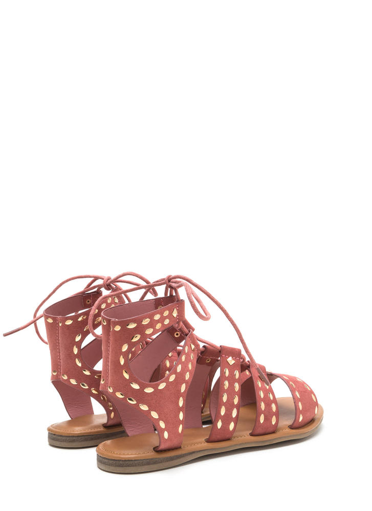 Fashion Victory Studded Lace-Up Sandals MAUVE