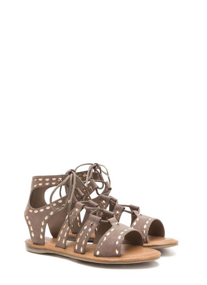 Fashion Victory Studded Lace-Up Sandals TAUPE