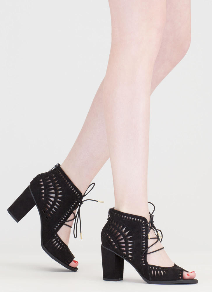 Geometry Lesson Cut-Out Lace-Up Heels