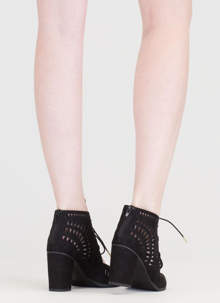 Geometry Lesson Cut-Out Lace-Up Heels BLACK