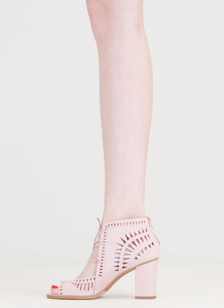 Geometry Lesson Cut-Out Lace-Up Heels PINK