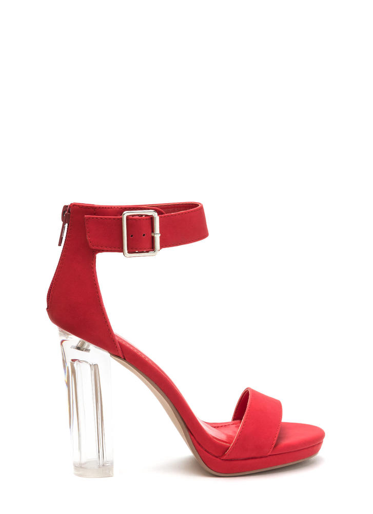 Clear You Are Chunky Lucite Heels
