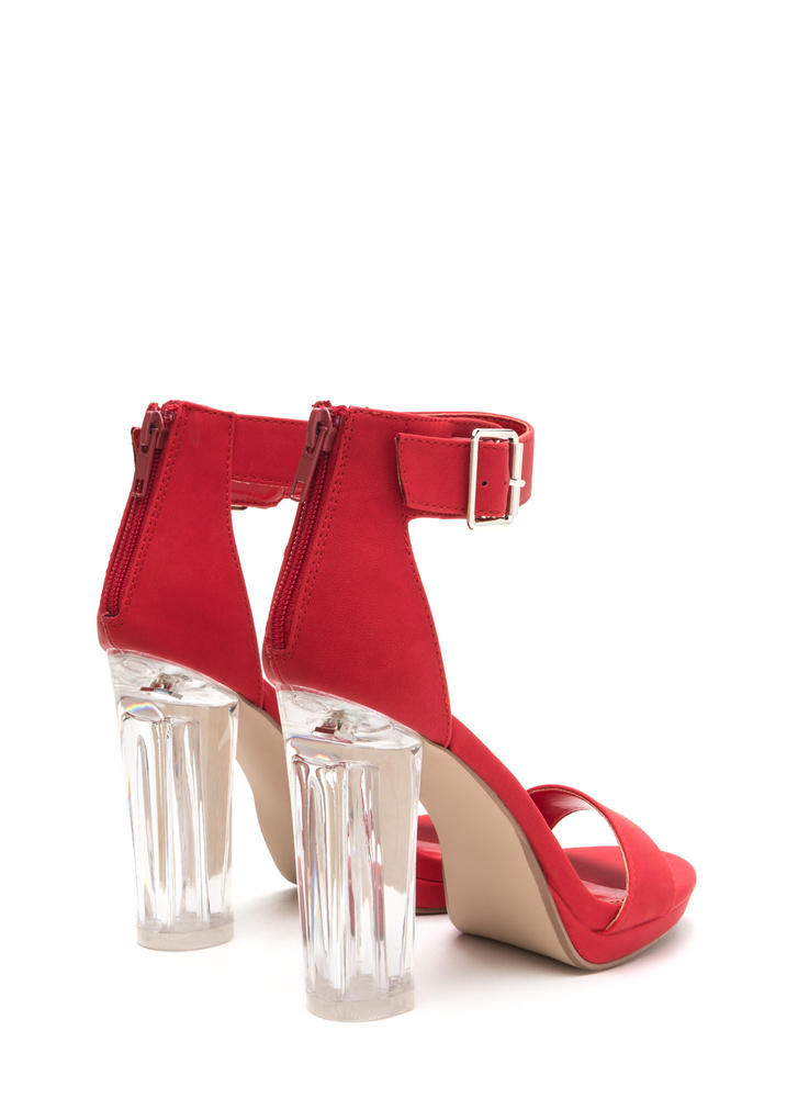 Clear You Are Chunky Lucite Heels RED