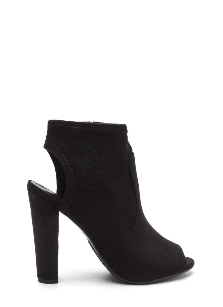 Chunky Cut Faux Suede Peep-Toe Booties BLACK