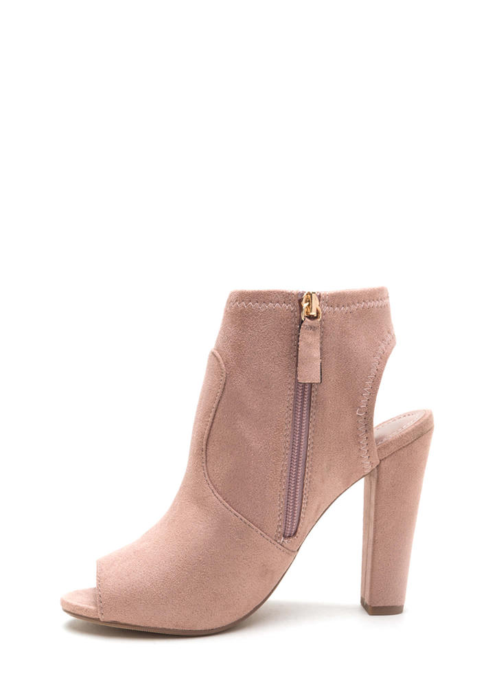 Chunky Cut Faux Suede Peep-Toe Booties DUSTYMAUVE