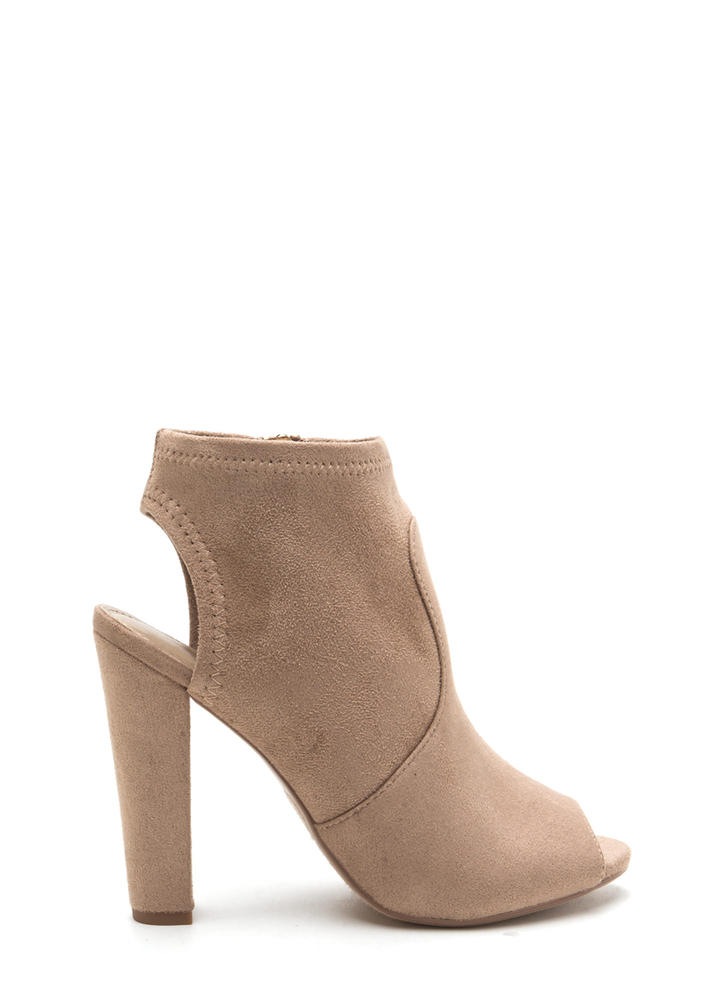 Chunky Cut Faux Suede Peep-Toe Booties LTTAUPE