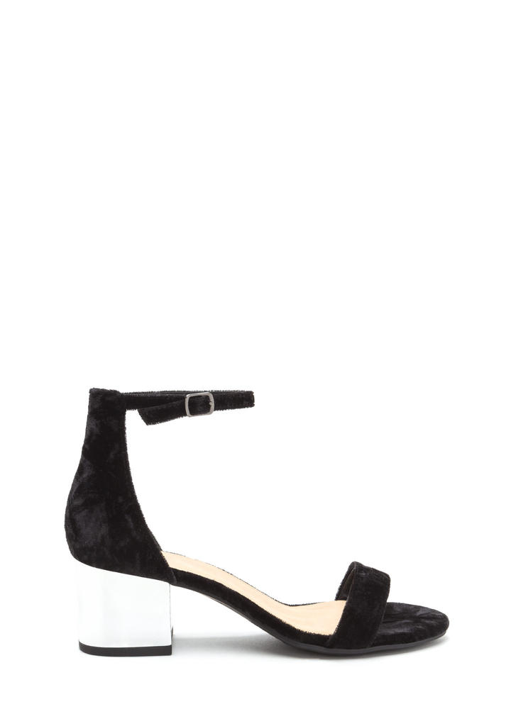 Shine On Crushed Velvet Block Heels
