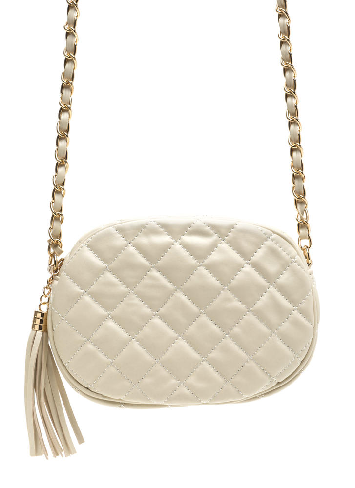 Day Or Night Quilted Faux Leather Bag BEIGE