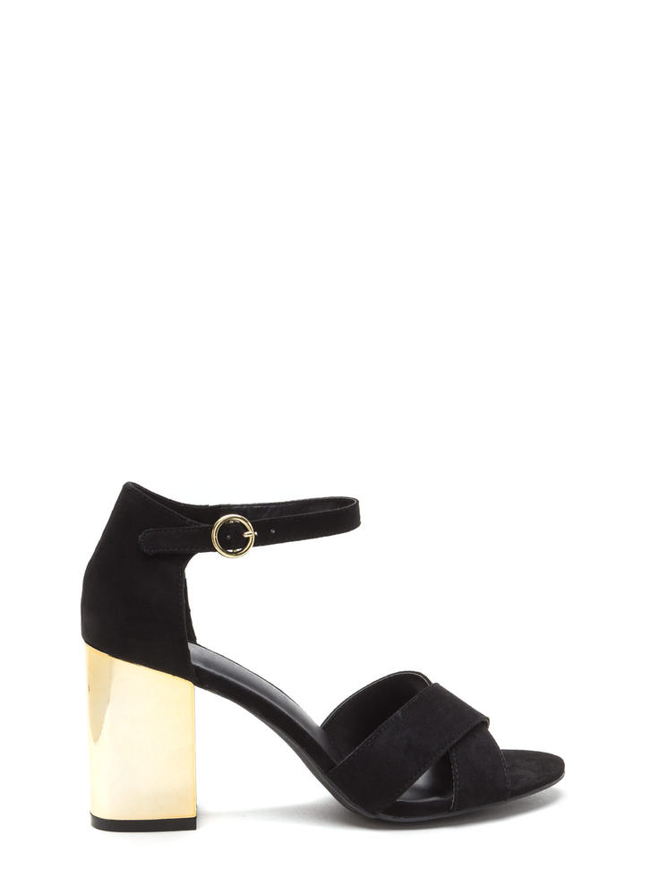 Shine Away Chunky Metallic Block Heels BLACK