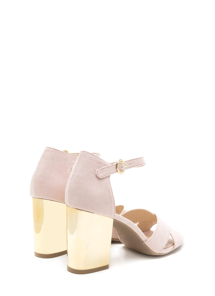 Shine Away Chunky Metallic Block Heels NUDE