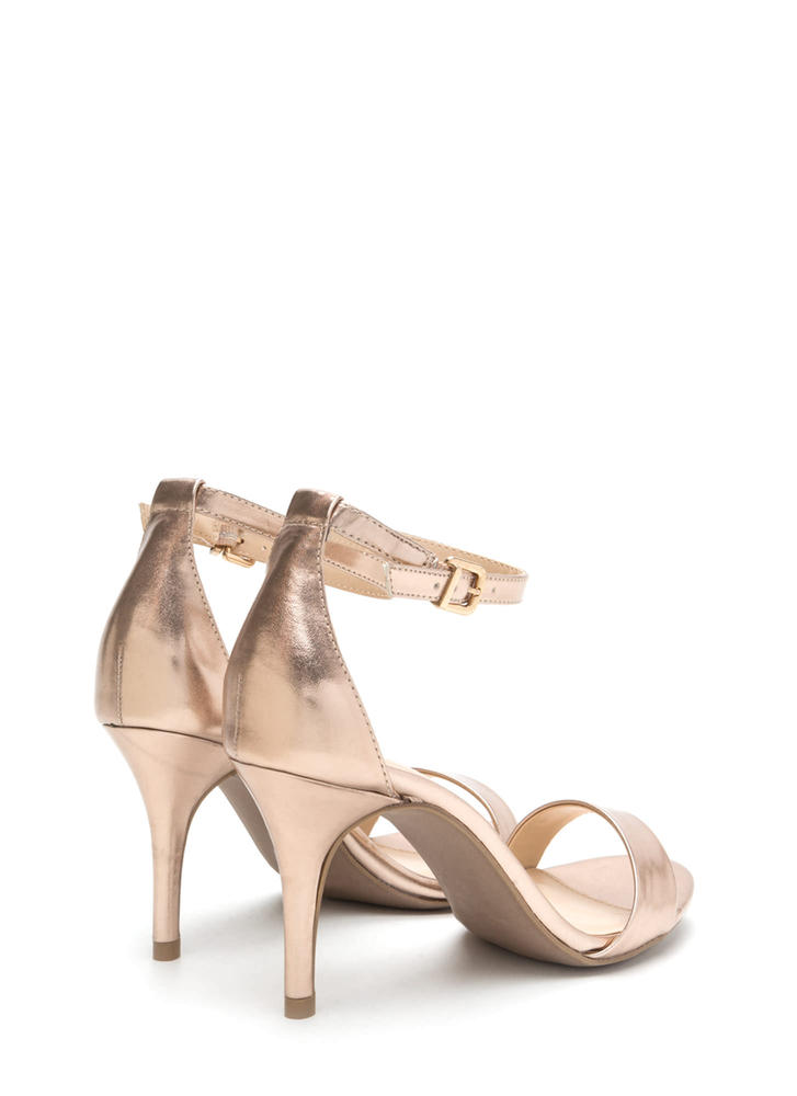 Soft Spot Strappy Faux Suede Heels ROSEGOLD