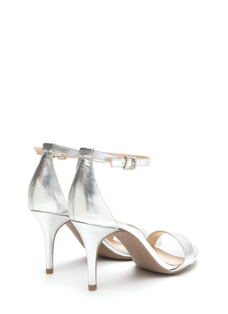 Soft Spot Strappy Faux Suede Heels SILVER