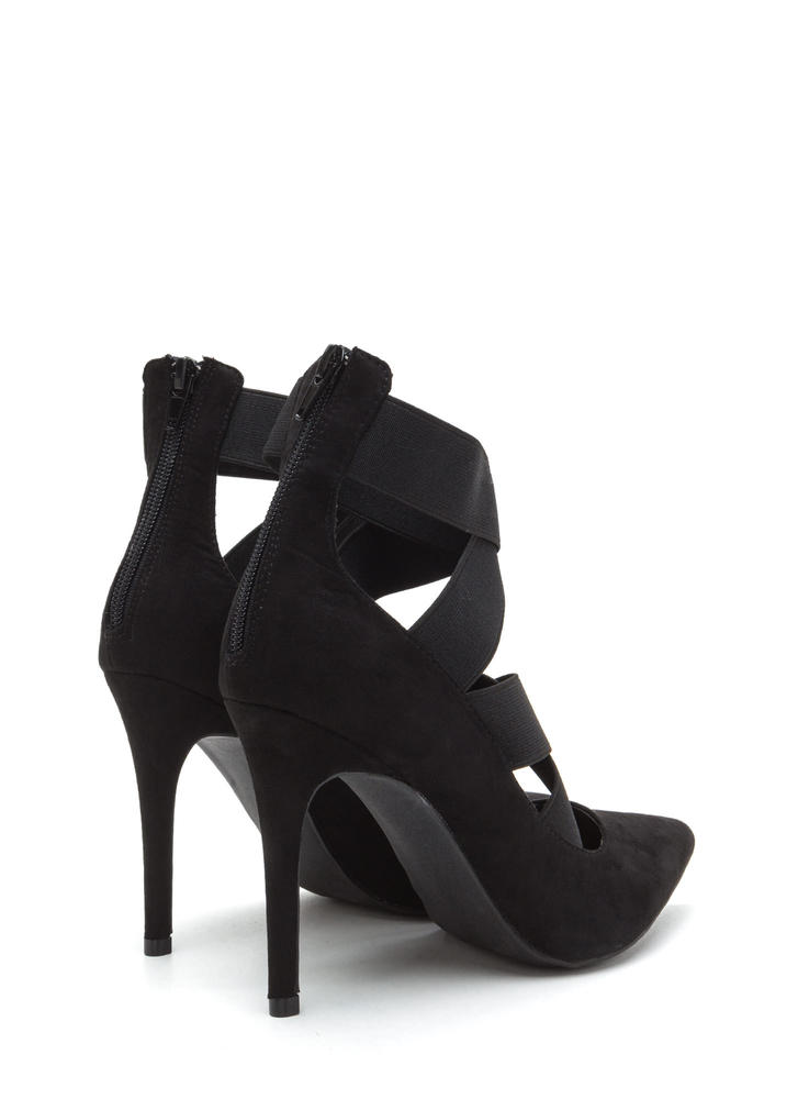 Strap The Idea Pointy Caged Pumps BLACK