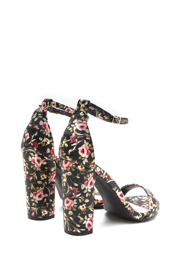 Spring It On Chunky Floral Print Heels BLACK