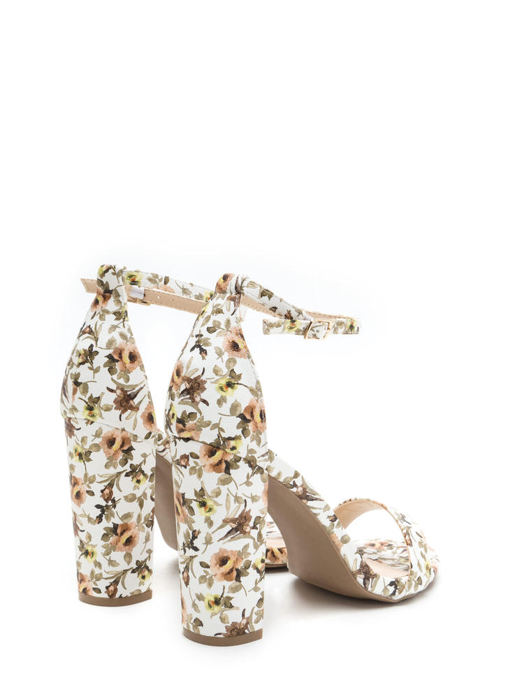 Spring It On Chunky Floral Print Heels WHITE
