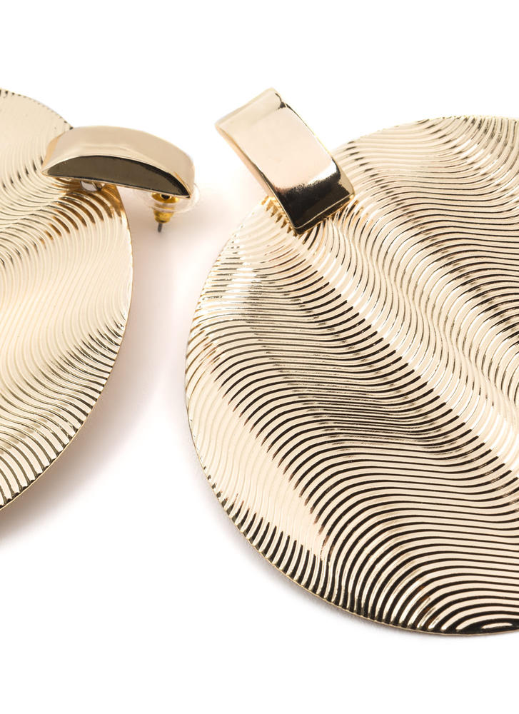 Throwback Touch Textured Disc Earrings GOLD
