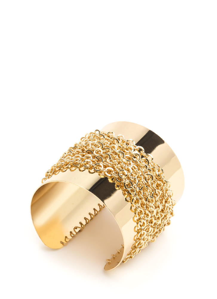 Chain Ten Shiny Wrapped Cuff GOLD