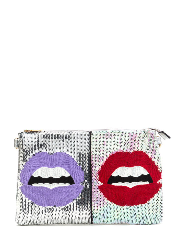 Lock Lips Sequined Flat Clutch