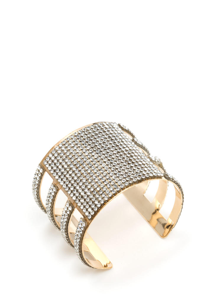 Stylish Climb Cut-Out Rhinestone Cuff