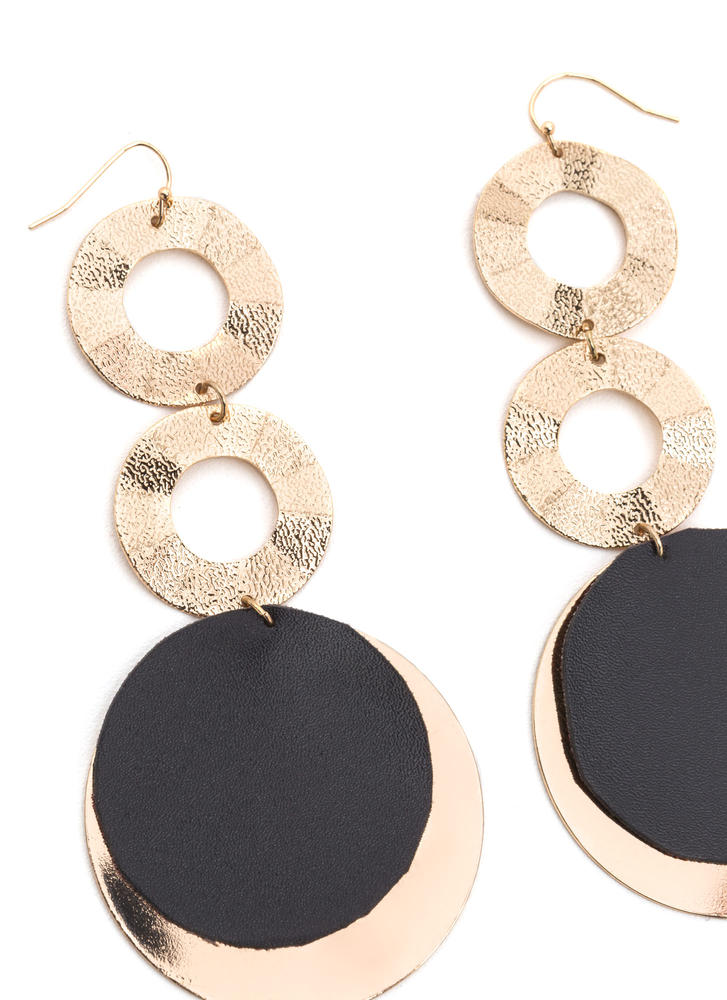 More To Love Textured Disc Earrings GOLDBLACK