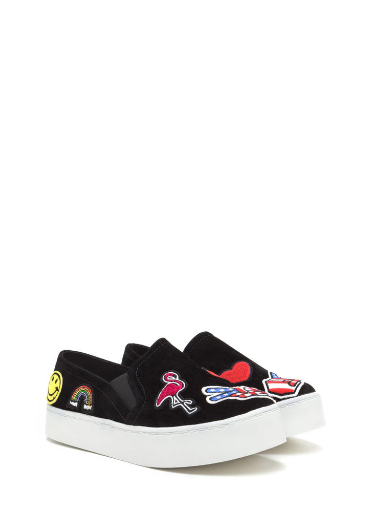 Perfect Patch Denim Flatform Sneakers BLACK