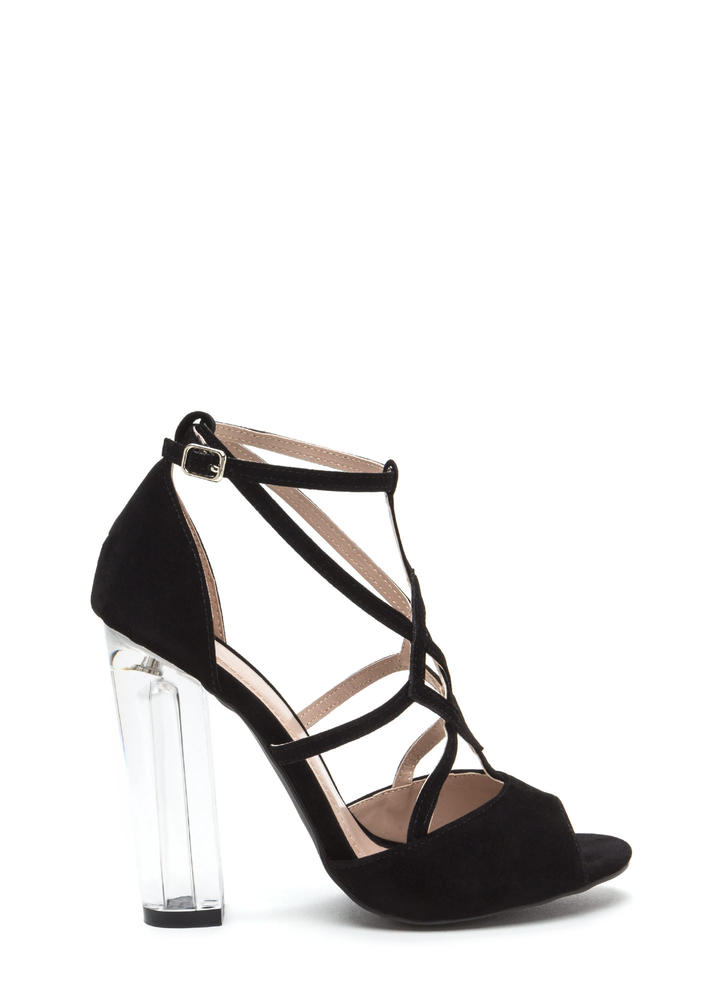 Act Your Cage Faux Suede Clear Heels BLACK