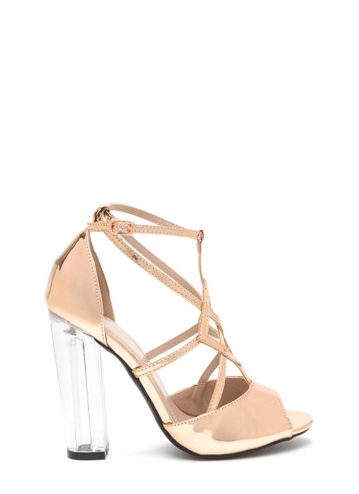 Act Your Cage Metallic Clear Heels ROSEGOLD