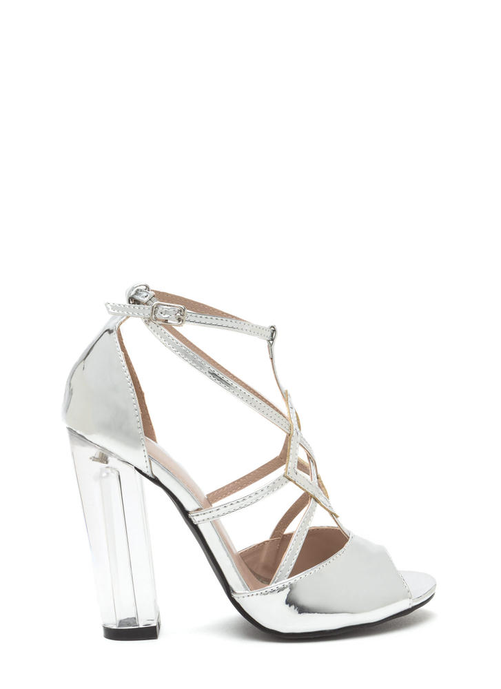 Act Your Cage Metallic Clear Heels