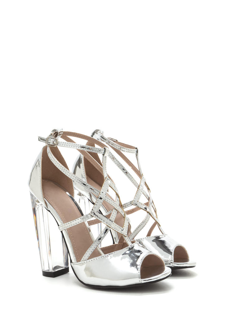 Act Your Cage Metallic Clear Heels SILVER