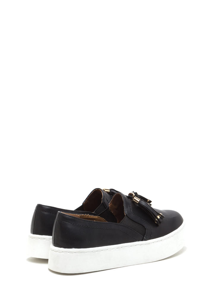 Two To Tassel Faux Leather Sneakers BLACK