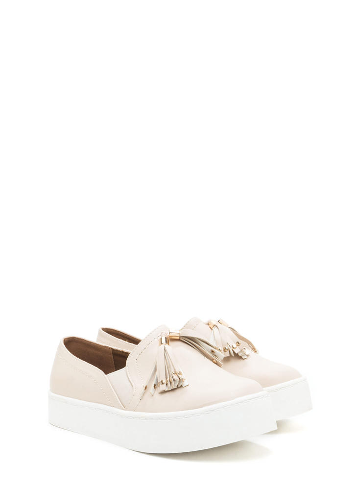 Two To Tassel Faux Leather Sneakers NUDE