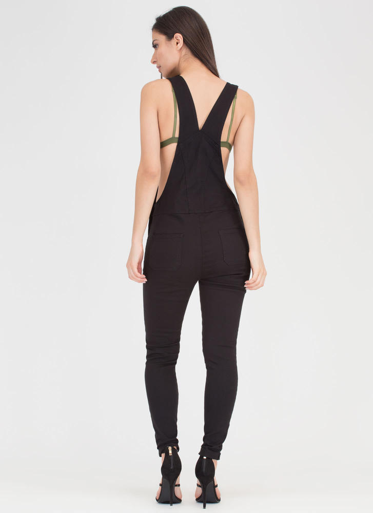 One And Done Skinny Distressed Overalls BLACK