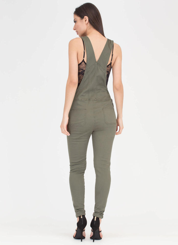 One And Done Skinny Distressed Overalls OLIVE